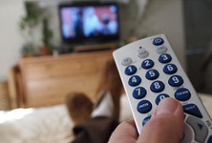 Remote being pointed at television
